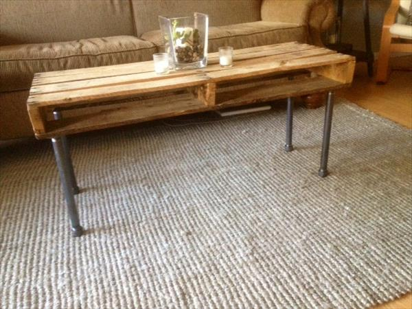 recycled pallet and iron pipe coffee table