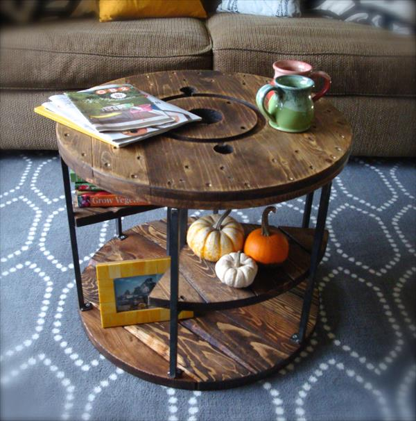 recycled pallet and spool coffee table