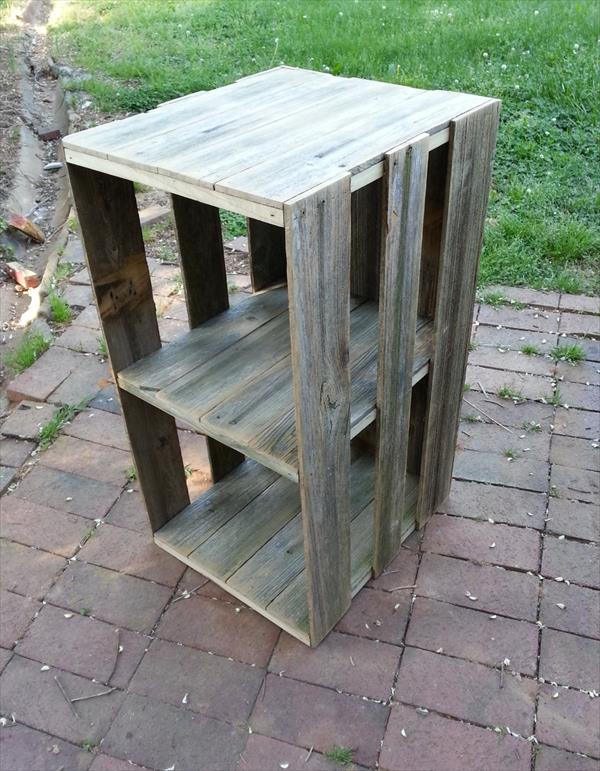 recycled pallet shelf and box