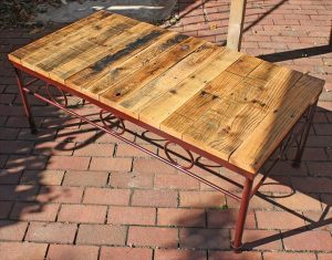 DIY Pallet Table with Reclaimed Metal Base