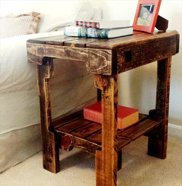 pallet side table and nightstand diy pallet nightstand and side table ...