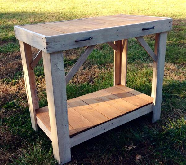 recycled pallet wood console table