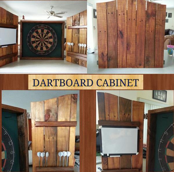 recycled pallet dartboard setup