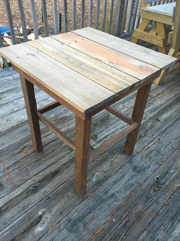 recycled pallet end table and side table