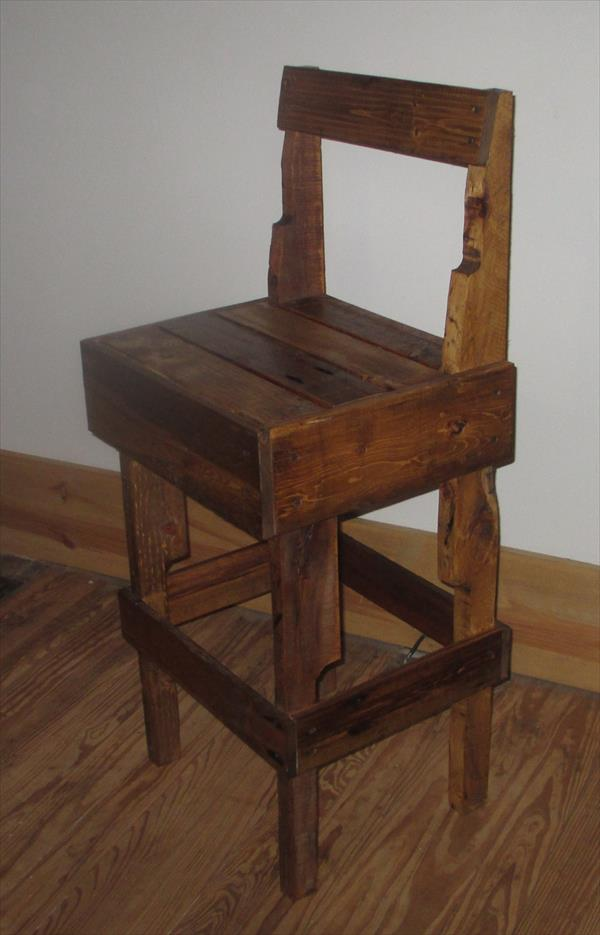 Diy Pallet Stool With Backrest Pallet Furniture Plans