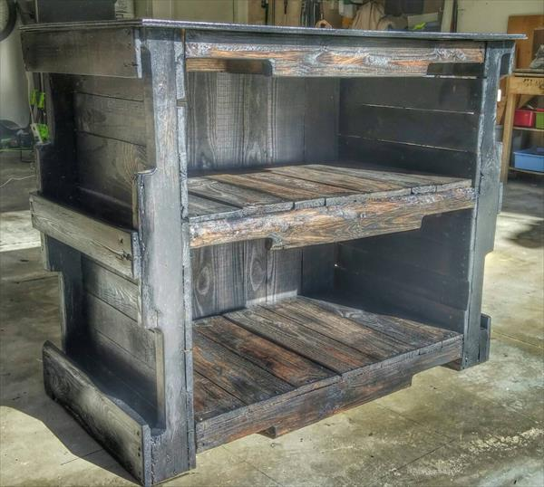 repurposed pallet storage and shelving unit