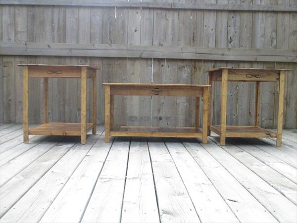 repurposed pallet end tables and side tablea