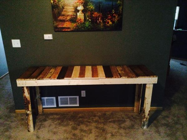 recycled pallet colorful console table