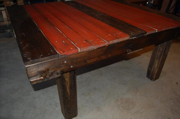 handmade pallet dak and red coffee table