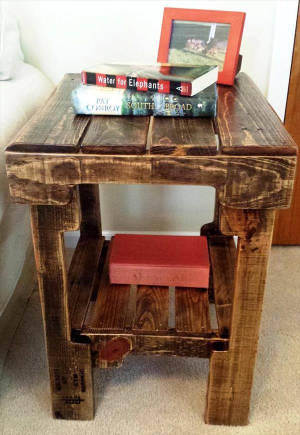 rustic vintage pallet side table