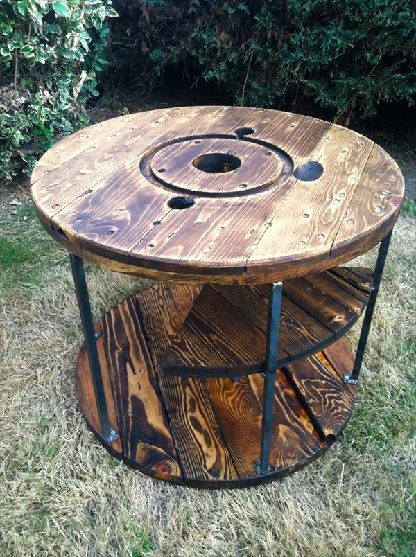 rustic cable spool and pallet table with floating shelves