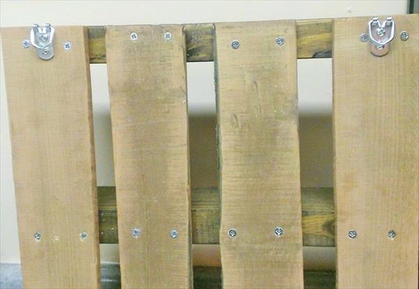 repurposed pallet kitchen wall shelf