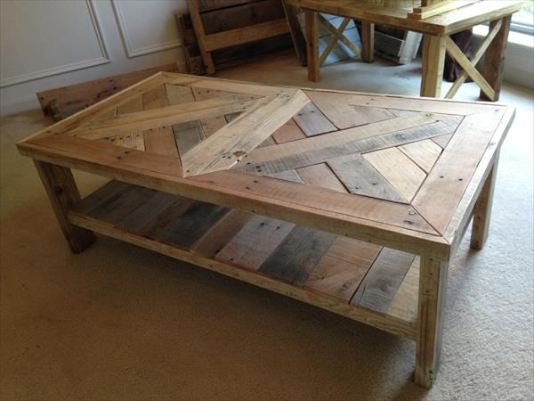 handmade pallet patterned top coffee table