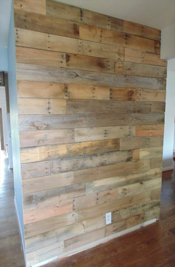Diy rustic pallet wall paneling pallet furniture plans for Wallcovering ideas