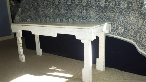 recycled pallet white bench