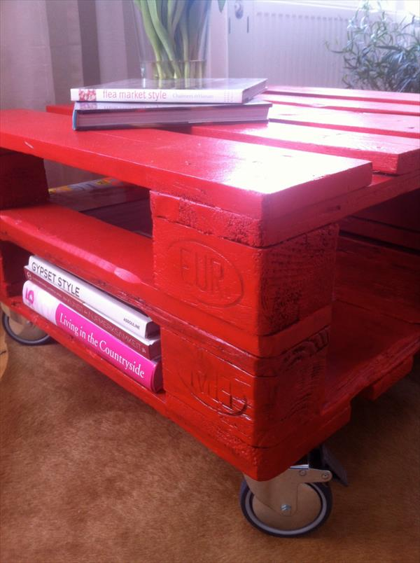 chic red pallet coffee table with wheels