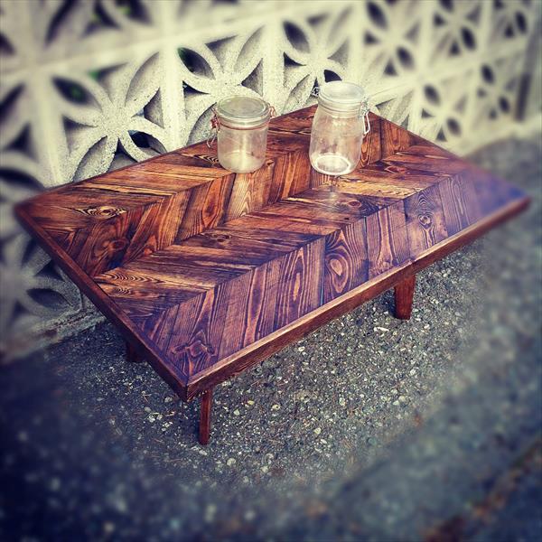 reclaimed pallet sleek chevron coffee table