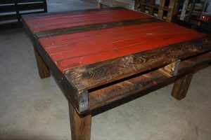 Pallet Coffee Table – Two-Toned Red and Dark