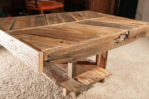 DIY Ultra-Rustic Pallet Chevron Sofa Table