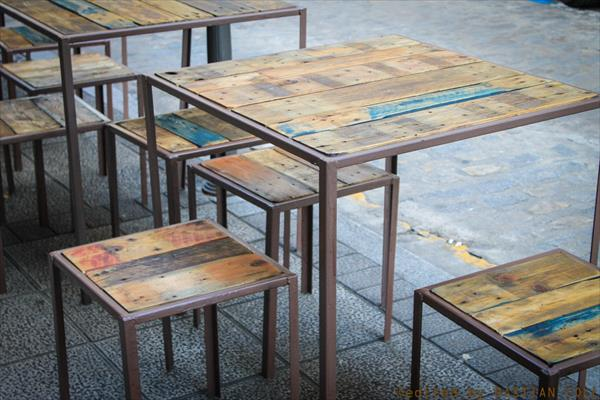 reclaimed pallet and old iron tables