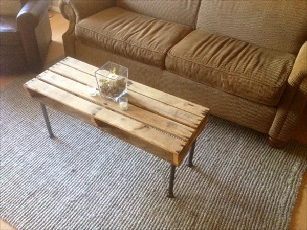 handmade pallet and metal coffee table