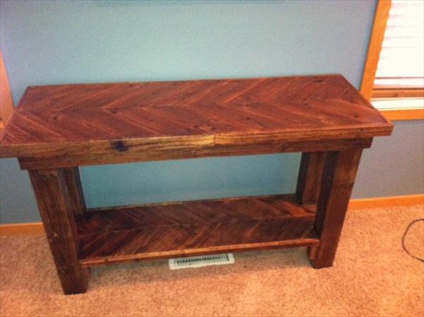 antique pallet sofa table with bottom shelf