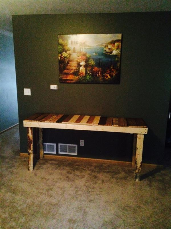 reclaimed pallet rustic colorful coffee table