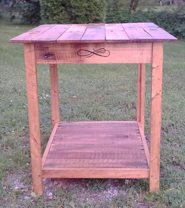 rustic pallet distressed side table and nightstand