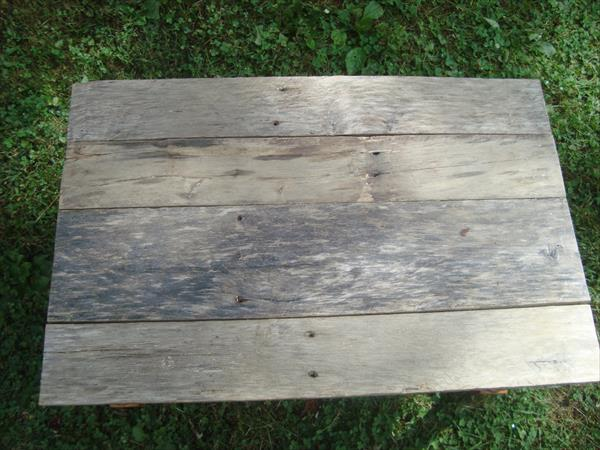 repurposed table with pallet top