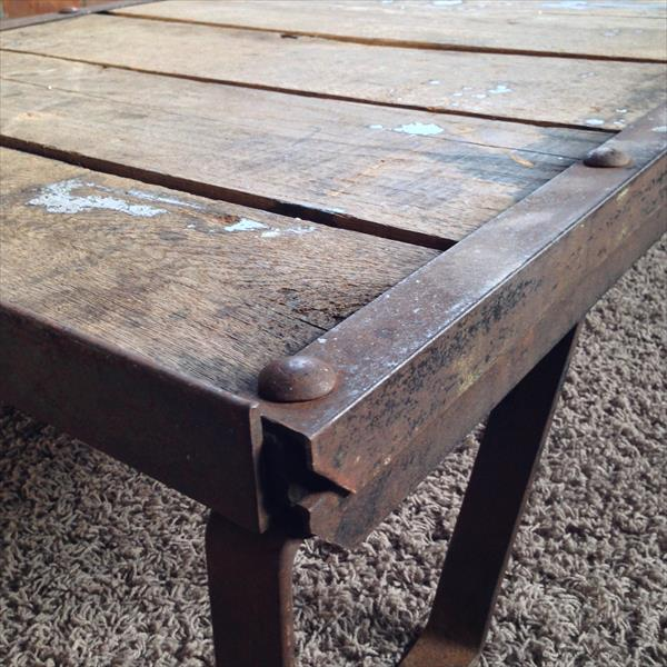 reclaimed pallet vintage warehouse cart and coffee table