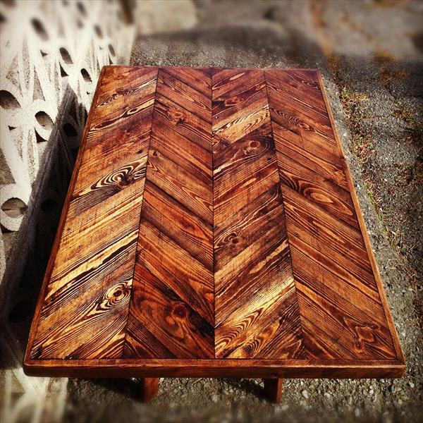rustic yet modern pallet chevron coffee table