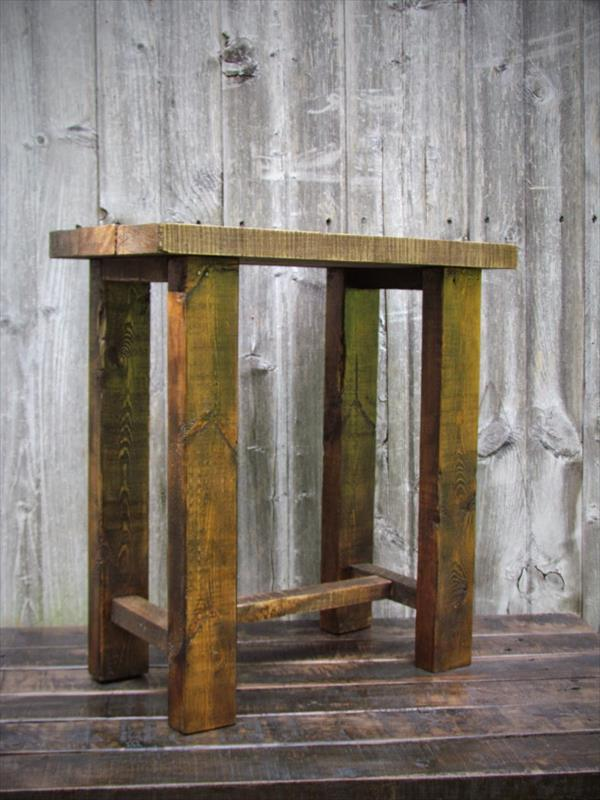 repurposed pallet nightstand and side table