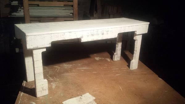 repurposed pallet white bench
