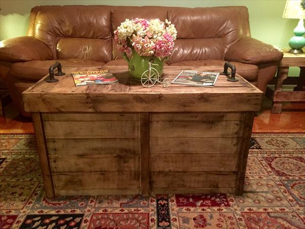 recycled pallet beefy coffee table with storage