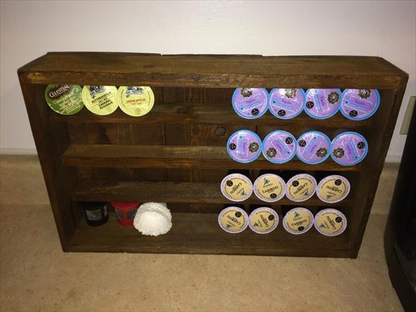 recycled pallet k-cup holder