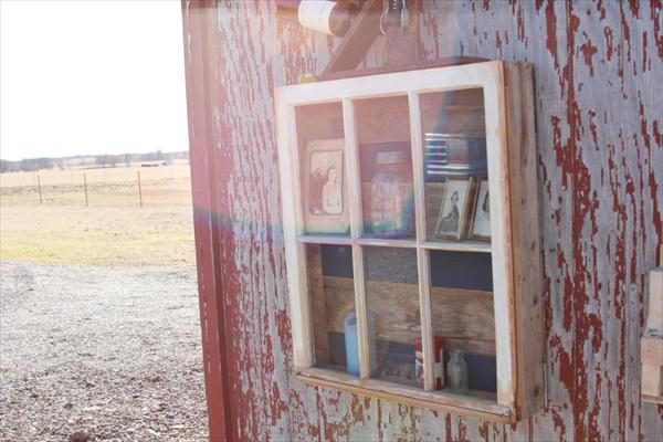 recycled pallet and old window display