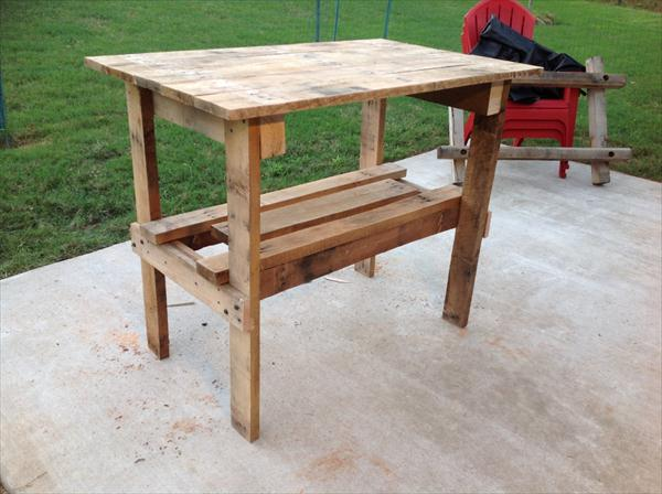 recycled pallet two tiered table