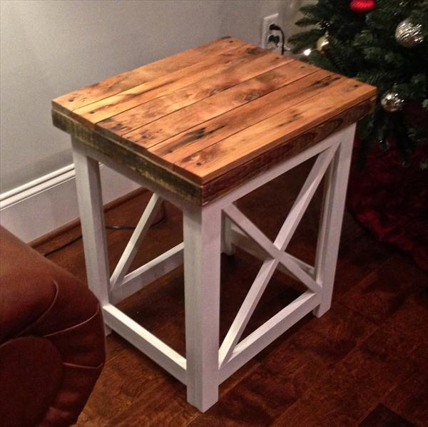 recycled maple pallet side table and nightstand