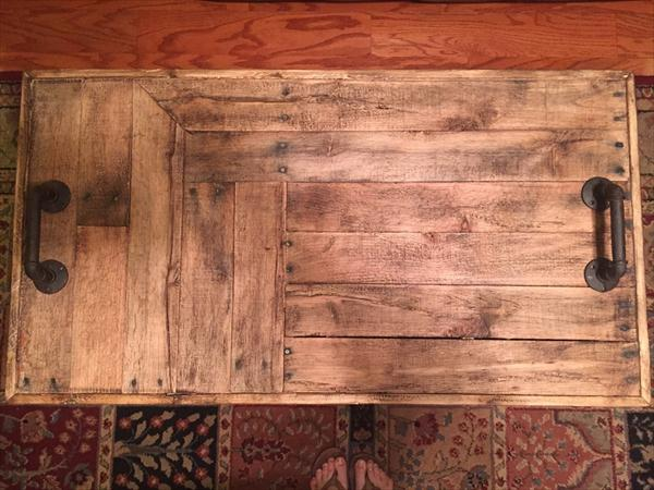 reclaimed pallet coffee table with secrete stash