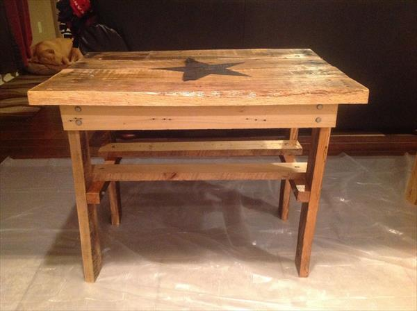 wooden pallet hardwood side table