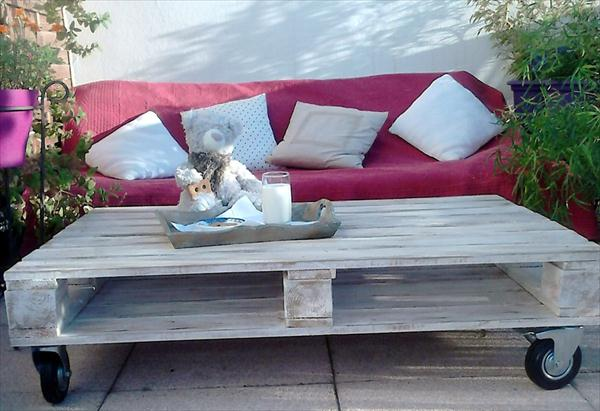 reclaimed pallet patio coffee table with wheels