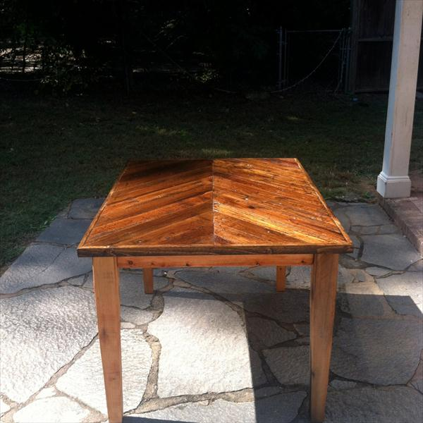 recycled pallet stained dining table