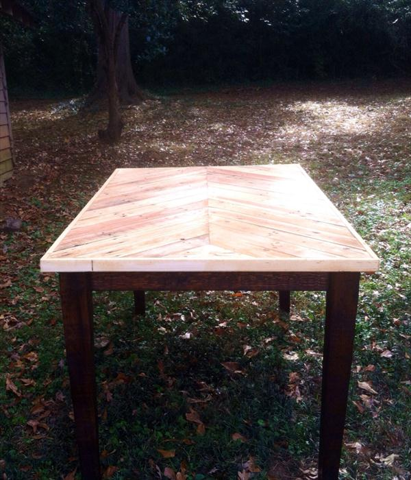 reclaimed pallet chevron dining table