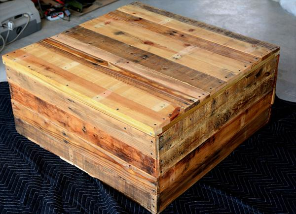 handmade pallet coffee table with secret stash