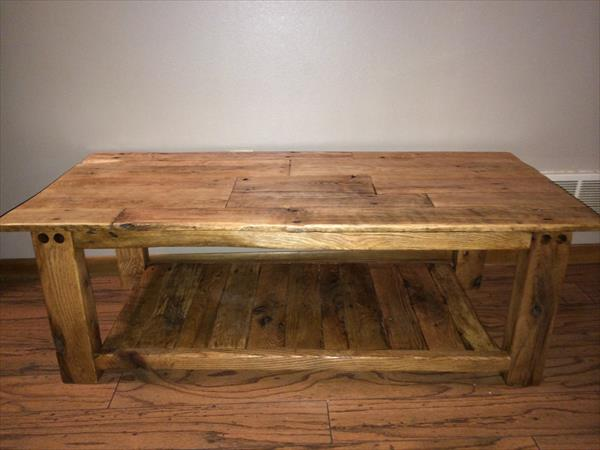 pallet side table with star recycled pallet wood stained coffee table ...