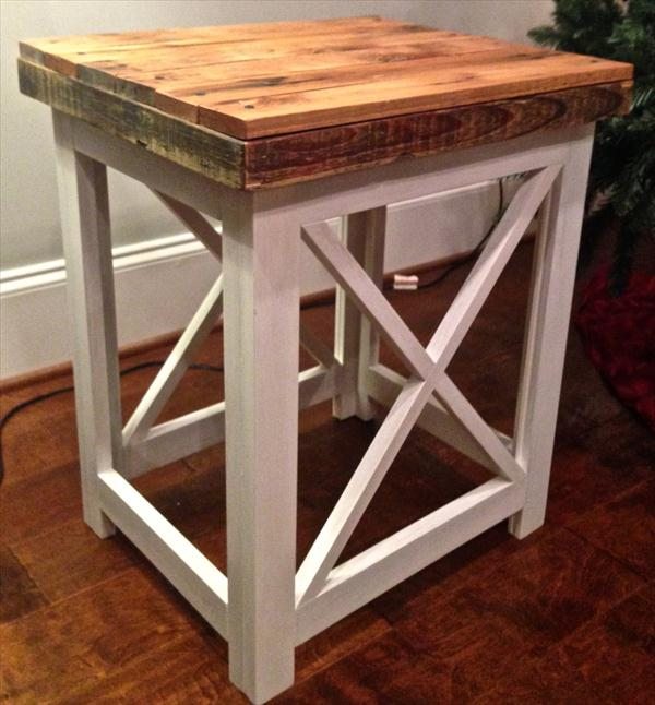 repurposed pallet side table and nightstand