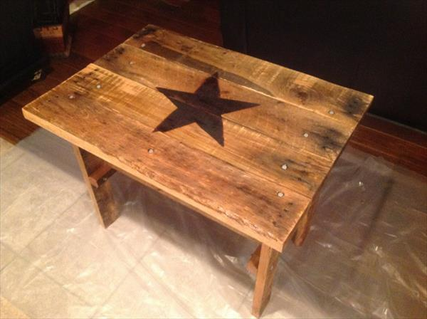 repurposed pallet hardwood side table
