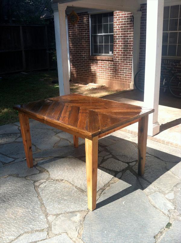 repurposed pallet chevron dining table