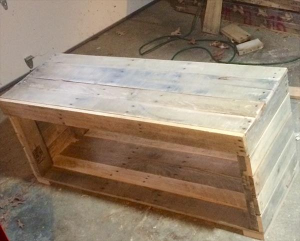 handcrafted pallet bench and coffee table