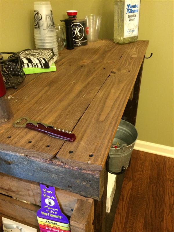 handmade pallet rustic table with side storage